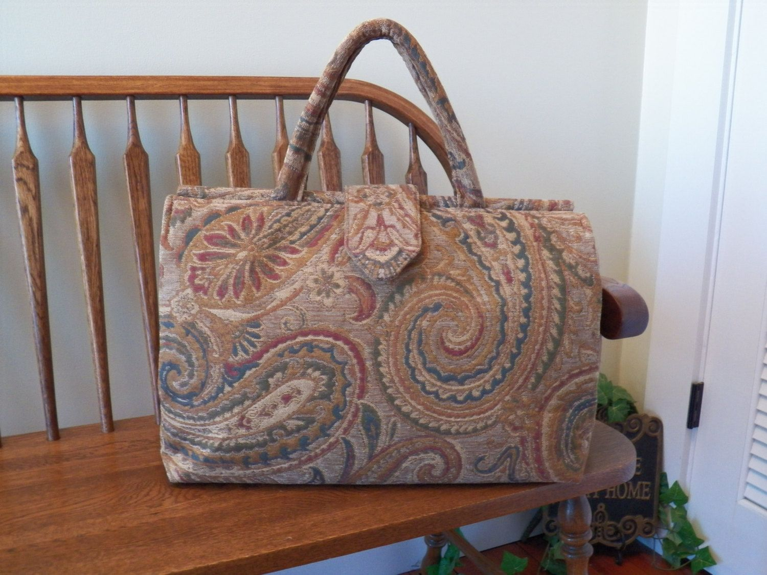 Abellona in Camel Chenille Tapestry Weekender #319T  My BIG Beautiful Bags all Handmade by Me~Tapestry Bag~Old Fashioned Style Carpet Bag~ by SignsofWelcome on Etsy
