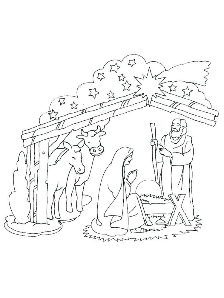 Nativity Scene Coloring Pages Printable Free. The ...