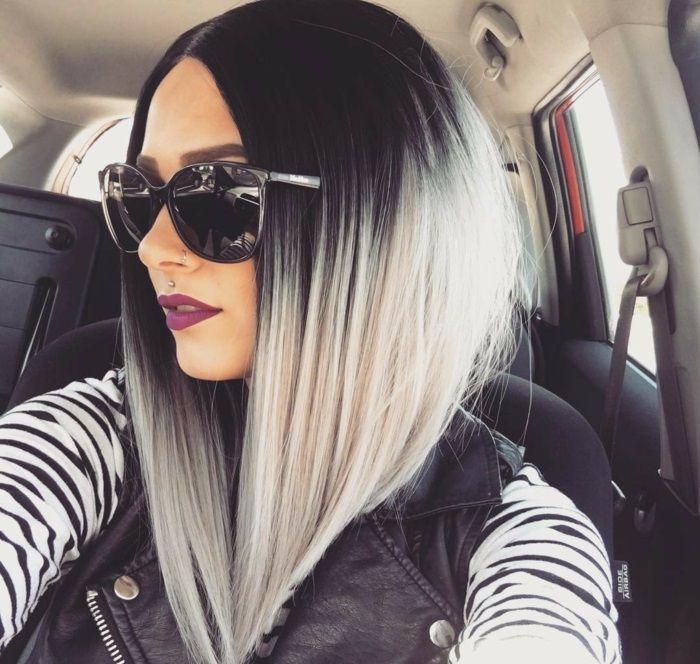 cheveux gris carré plongeant | Cheveux, Jolis cheveux, Coupe cheveux mi long gris