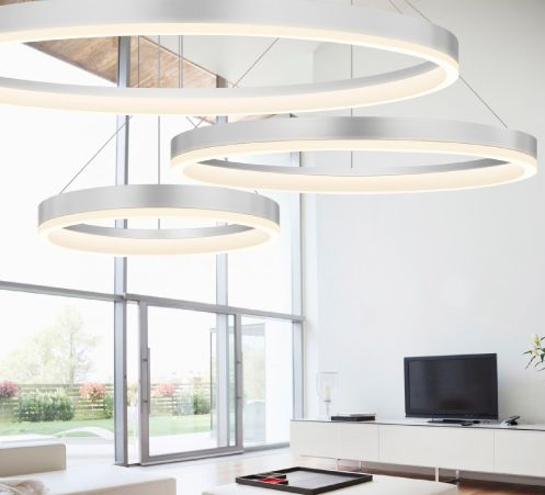 these corona rings from sonneman are a modern looking fixture that