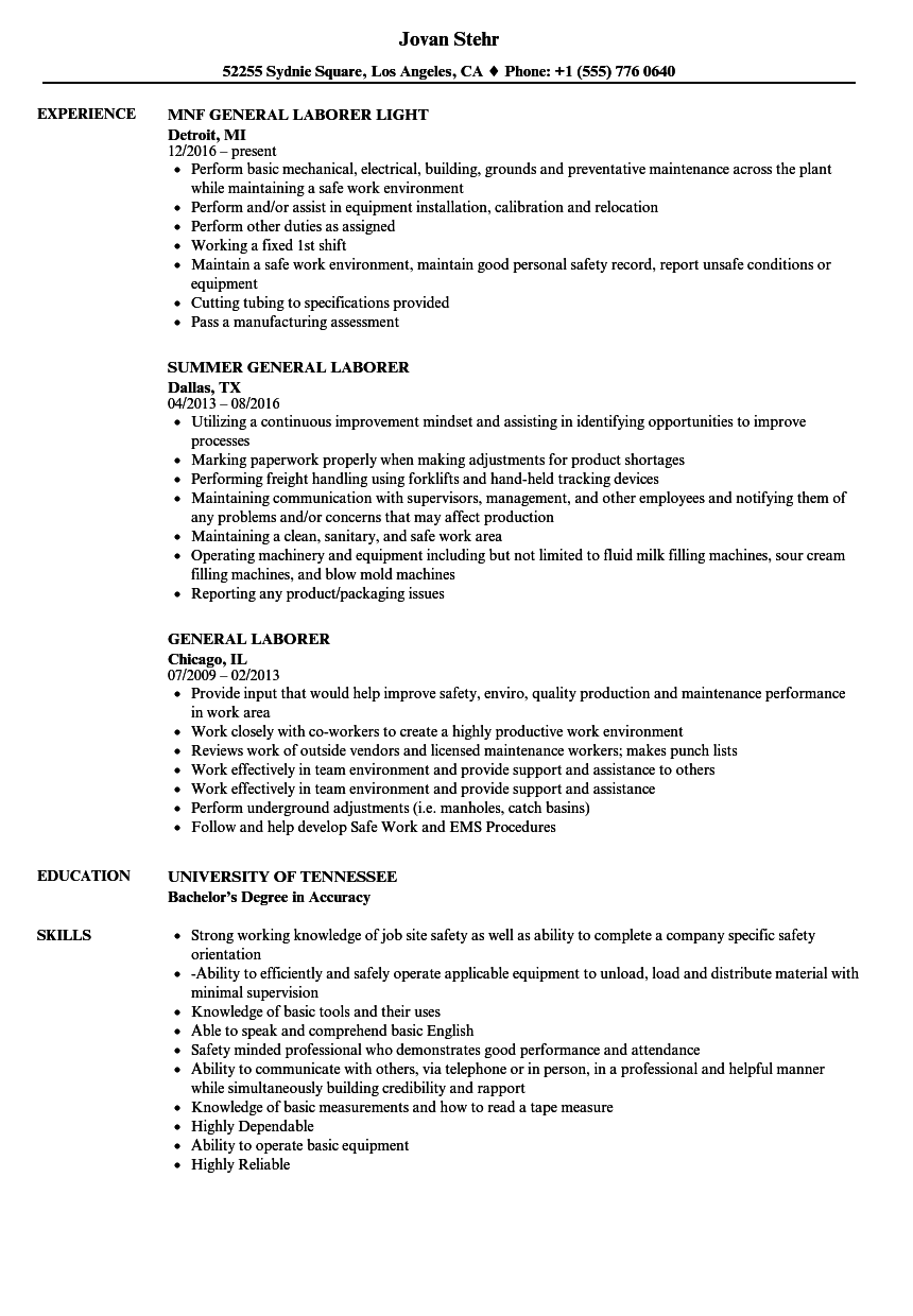 Resume Examples General Labor Good resume examples, Job