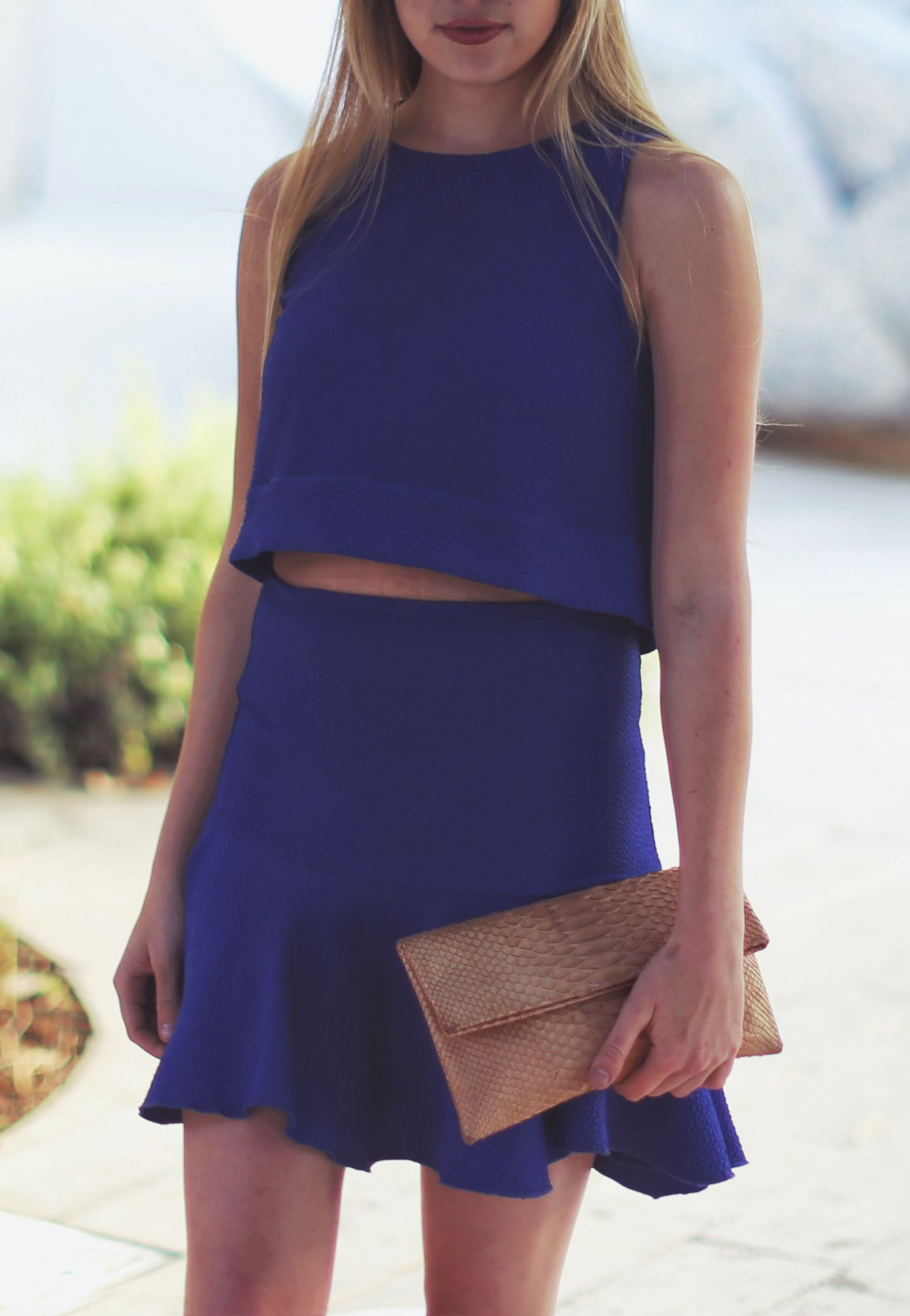 blue co ord for summer with a peplum skirt