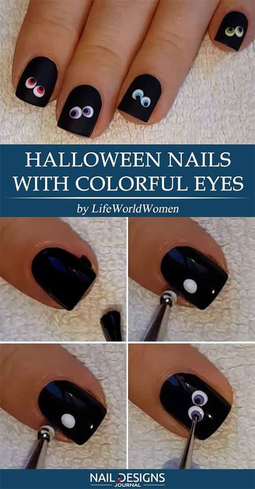 Easy Step By Step Halloween Nails Art Tutorials For Beginners 2019 17 Halloween Nails Easy Easy Halloween Nails Design Halloween Nail Art Tutorial