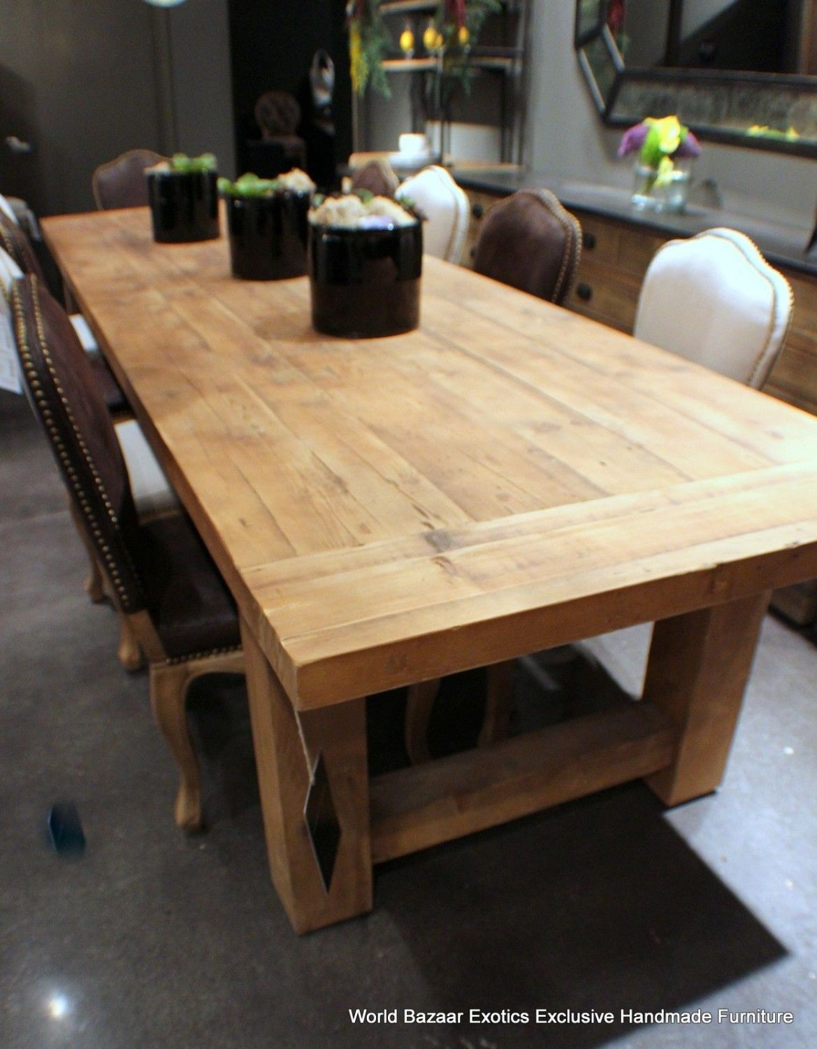 7e7ec2445c81 Large Wood Dining Room Table Amazing Ideas Long Rectangular Solid Wood  Dining Table Have Dining Chairs That Also Have Black Flowers Vase On The  Table Top ...