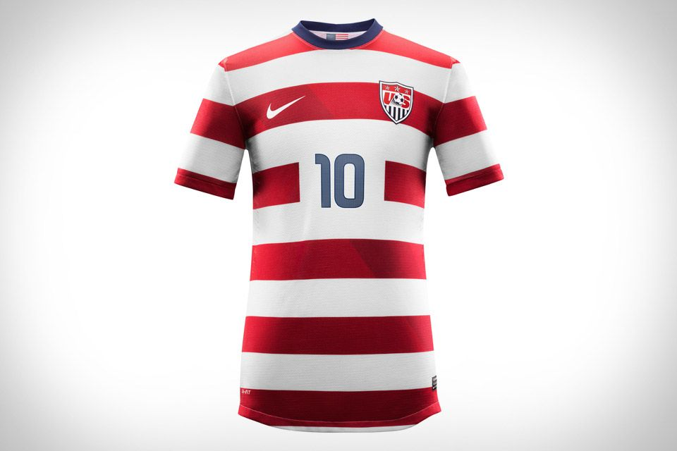 922637cd1 NIKE US SOCCER JERSEYS The new Nike US National Team Soccer Jerseys feature  a design inspired by our flag, with red and white stripes dominating the  top, ...
