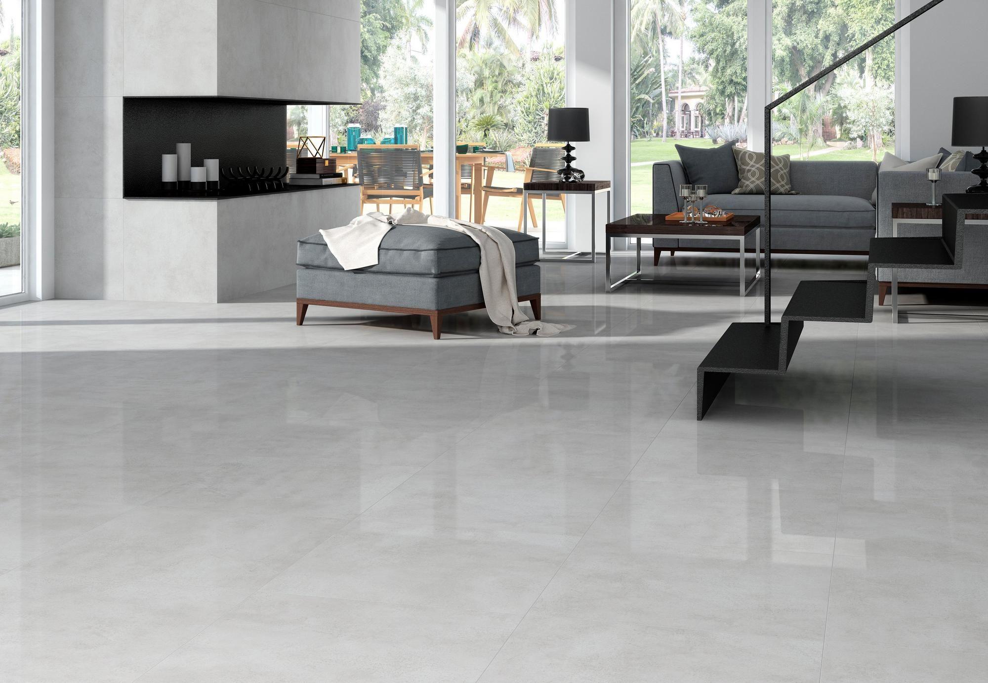 Kalos Gris Polished Porcelain Tile Polished Porcelain Tiles White Porcelain Tile Concrete Floors Living Room