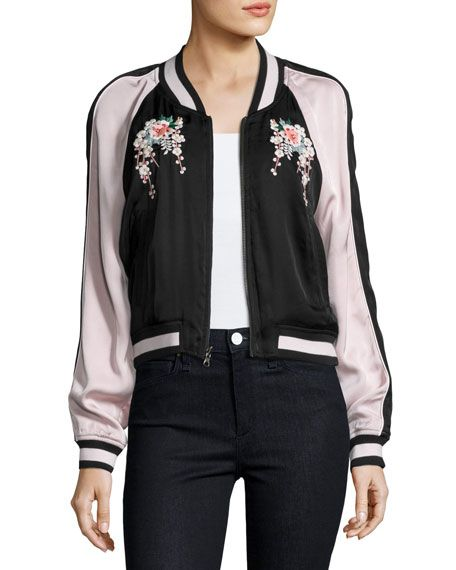 4ca75caeda214 JOIE Juanita Floral-Embroidered Bomber Jacket, Black/Pink. #joie #cloth #