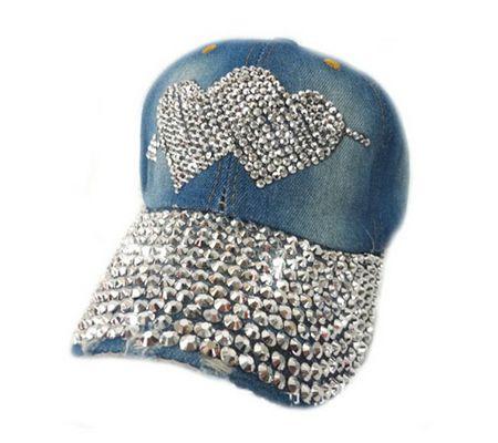 8b353a8ff2e Women Denim Jean Campagne Bling Cupid Hearts Baseball Cap
