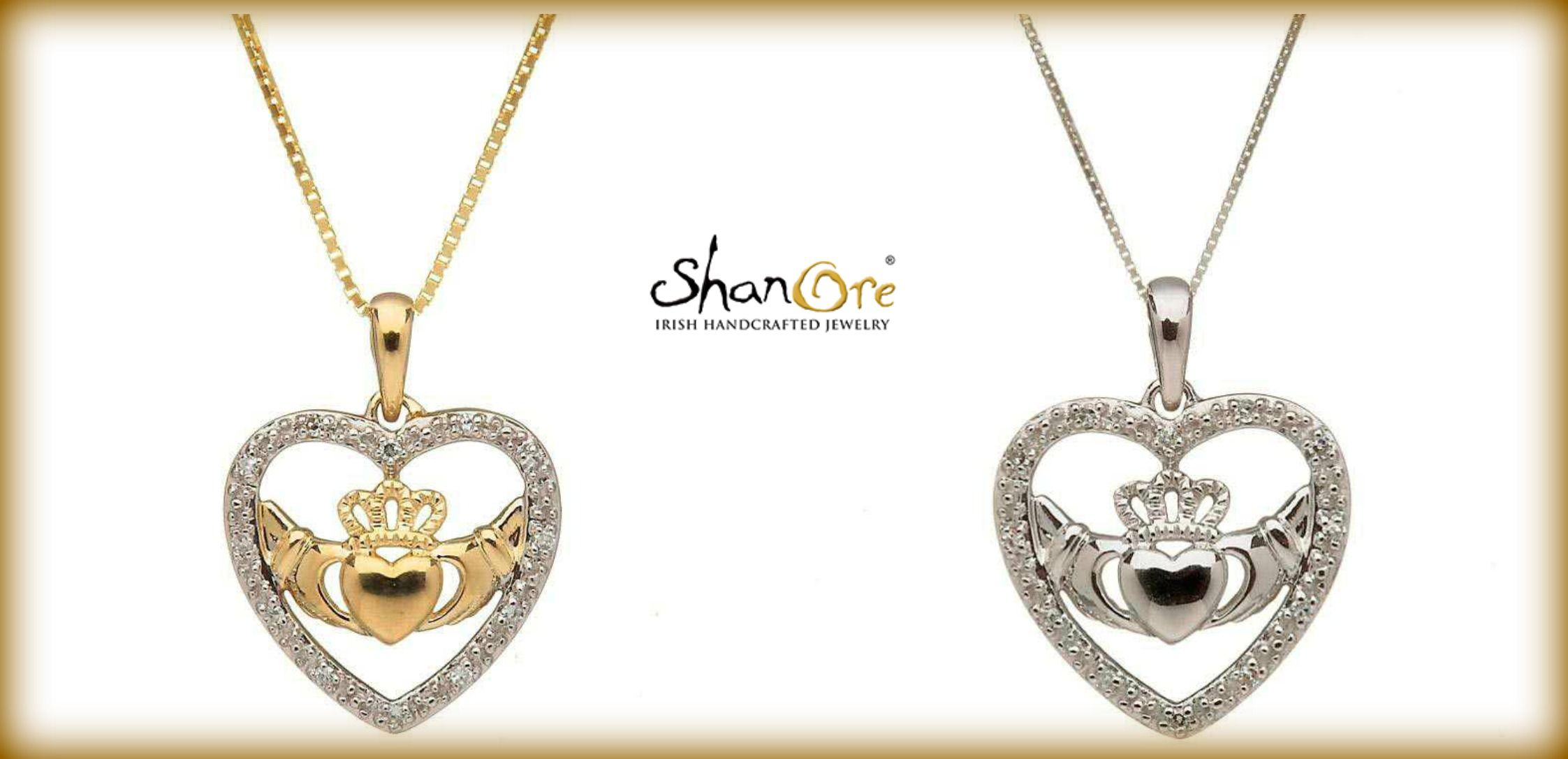 Shanore Gold and silver claddagh pendants #irish #celtic #jewelry #claddagh #shanore