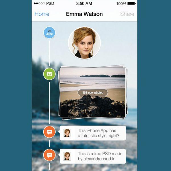 iOS7 Timeline PSD Ios 7, User interface, Timeline
