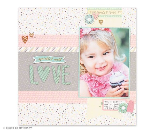 Sprinkled With Love Single Page Scrapbook Layout Close To My Heart