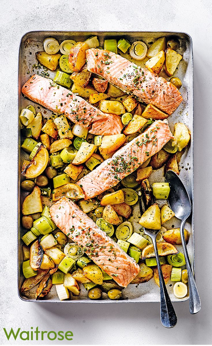 For an easy, no-fuss dinner try our one-pan salmon with leeks, crispy potatoes and lemon. See the full recipe on the Waitrose website.
