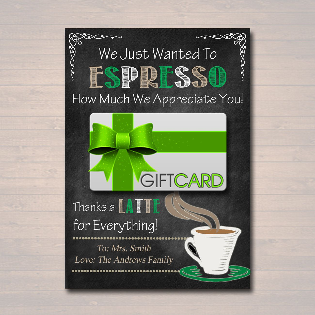 Editable coffee card holder thanks a latte gift card