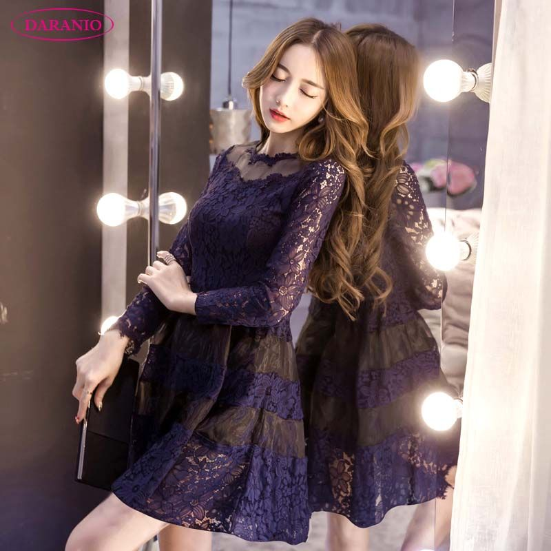 cd6549b802 Daranio 2018 All-Matched Korean Style Women s Spring   Summer A-Line Lace  Short Dresses Thin Bottom Eugen Yarn One-Piece Girls  Clothing ( DA1006)