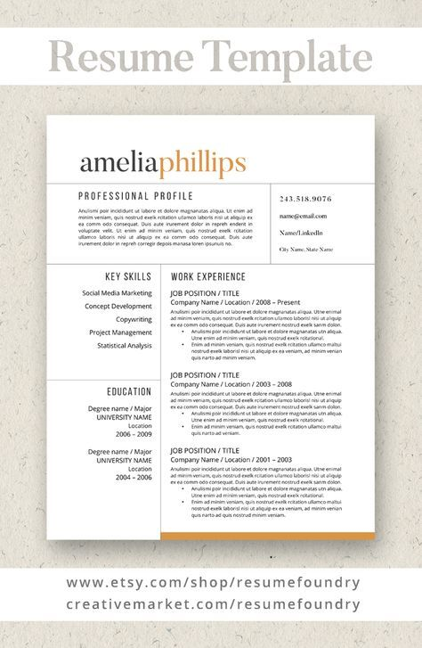 Best selling resume template Guaranteed to help you STAND OUT - download resume template