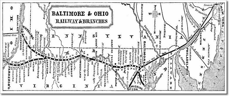Map 1 Baltimore Ohio Railroad In 1860 Baltimore And Ohio Railroad History Ohio