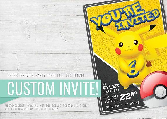 Pokemon Birthday Invitation Pikachu Printable Custom Go