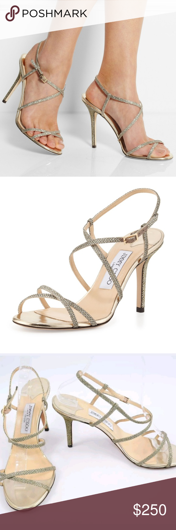 Jimmy Choo Elaine Strappy Sandal Glittering Straps Cross Atop A Minimalist Sandal With A Mirrored Midsole An Jimmy Choo Shoes Heels Strappy Sandals Jimmy Choo