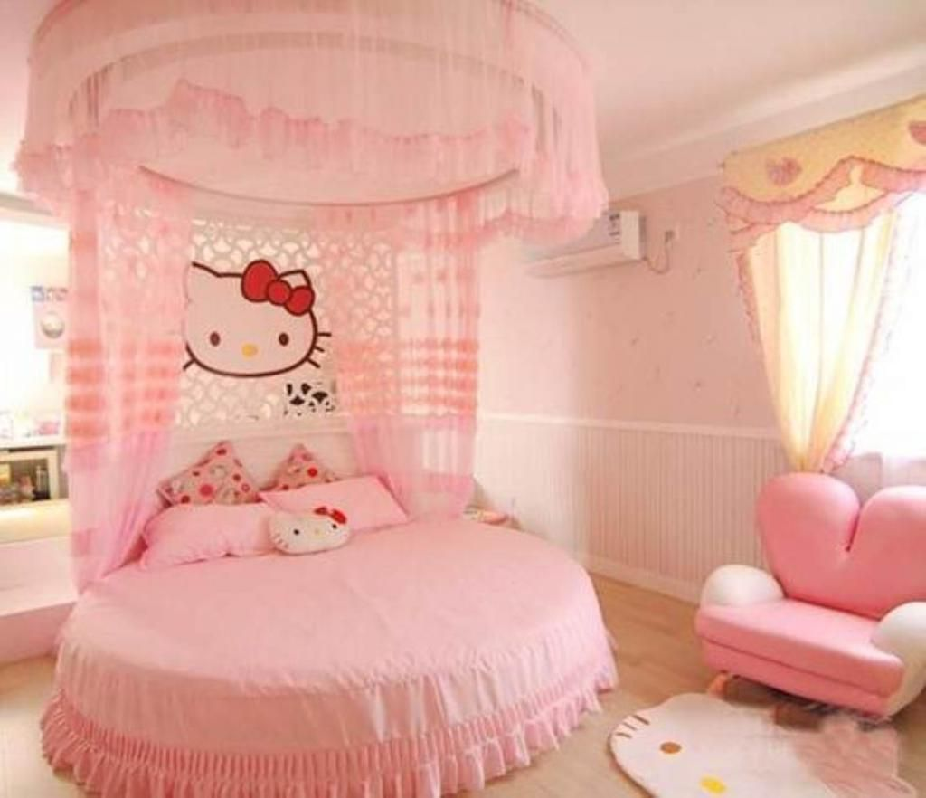 All Pink Colors Pink round bed and canopy bed For Cute kids bedroom Decor idea with hello kitty rug on floor beside pink chair Also hello kitty partition All Pink Colors Pink round bed and canopy bed For Cute kids bedroom