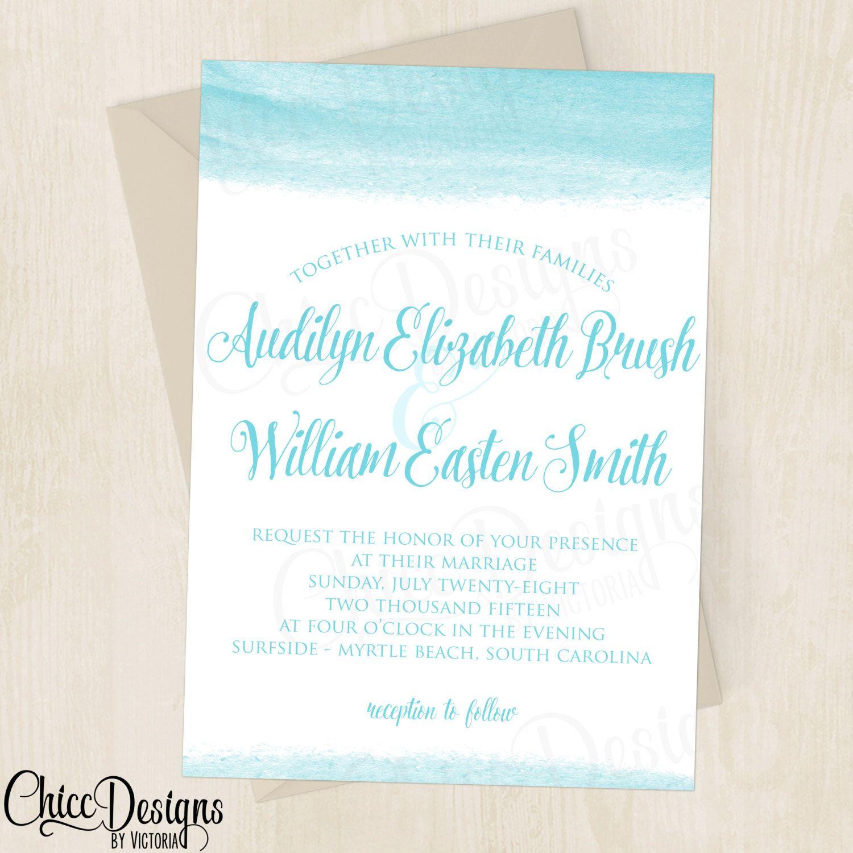Elegant Beach Wedding Invitation - Destination Wedding - Waves - Sea ...