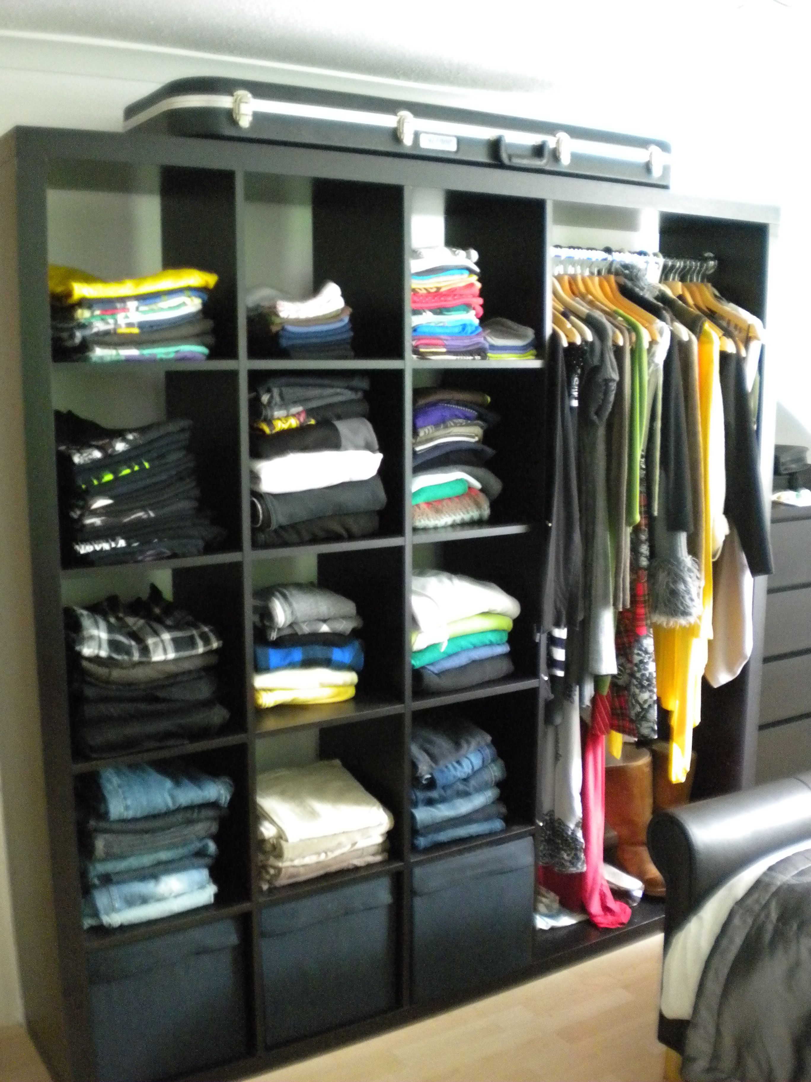 upcycle an ikea expedit unit into an open face wardrobe. Black Bedroom Furniture Sets. Home Design Ideas