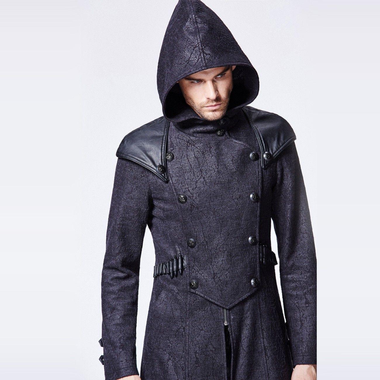 steampunkt schwarzer mantel mann