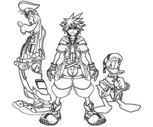The Journey of Sora and Goofy and Donald Duck Coloring