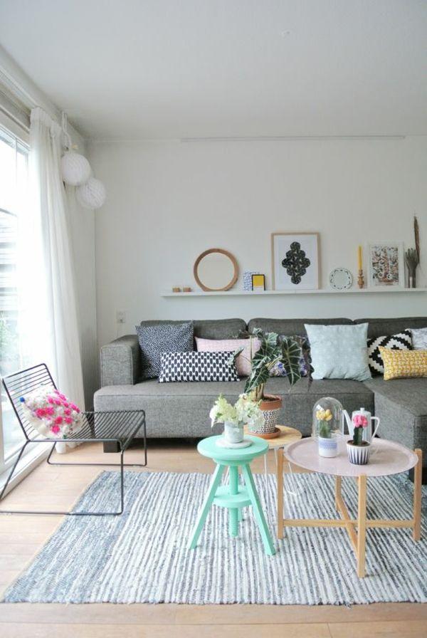 skandinavische möbel wohnzimmer modern einrichten pastelltöne holz - kleine wohnzimmer modern
