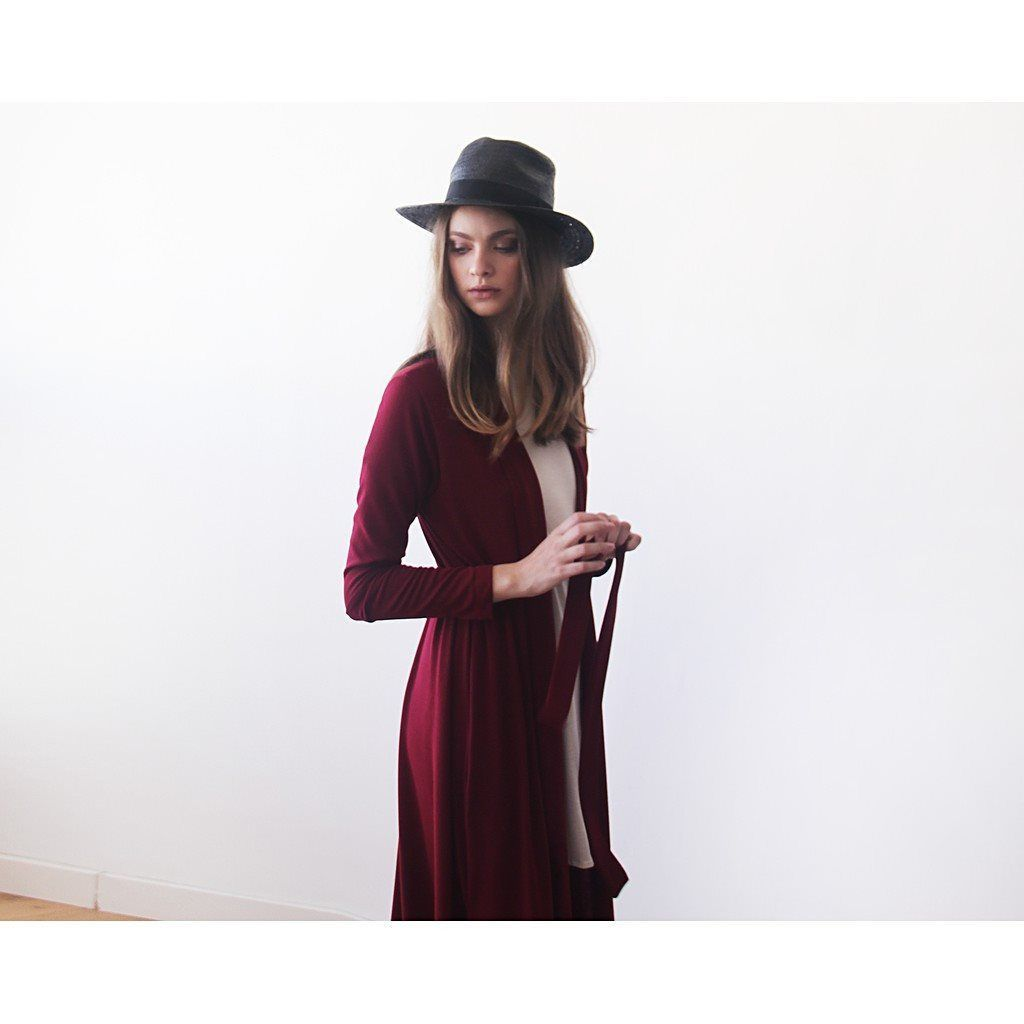 Knitted maxi bordeaux cardigan with pockets ,Red maxi knit autumn coat
