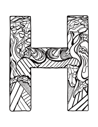 Letter H Zentangle Coloring Page From Zentangle Alphabet Category Select From 30582 Printable Crafts Of Ca Coloring Letters Love Coloring Pages Coloring Pages