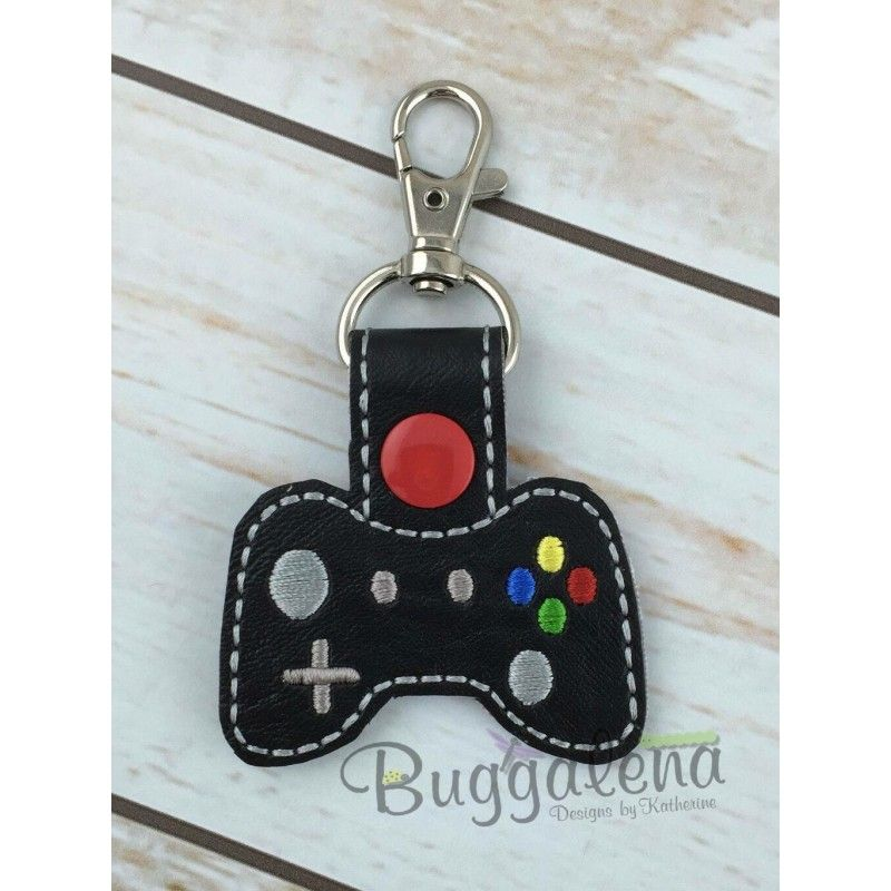 Controller Key Fob Embroidery Design With Snap Tab