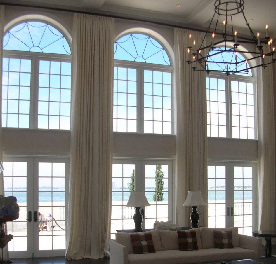 Amazing Living Room with Tall Arch Window