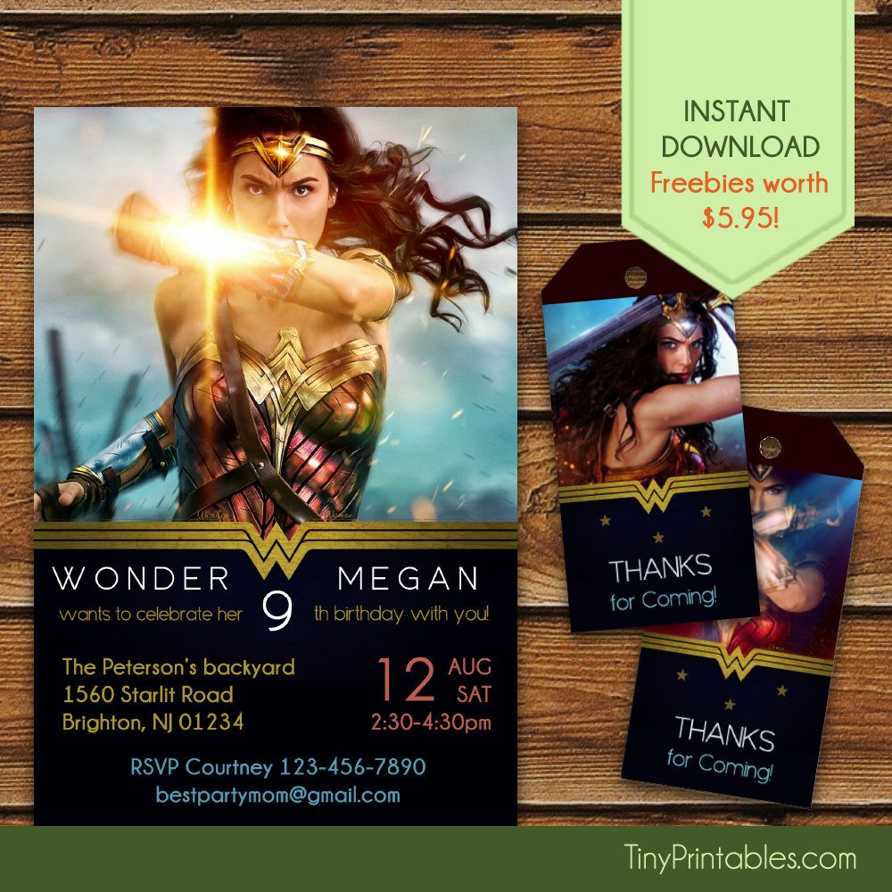 Wonder Woman Invitations + Free Wonder Woman Thank You Tags, Wonder ...