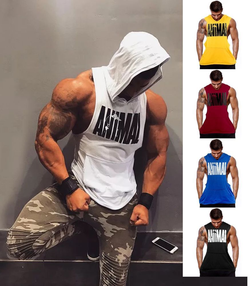 752ed7fabad89 Details about Hot Men Gym Clothing Bodybuilding Stringer Hoodie Tank Top  Muscle hooded Shirt