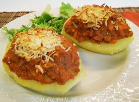 Patatas Rellenas De Boloñesa Patata Rellena Patatas Recetas Con Patatas