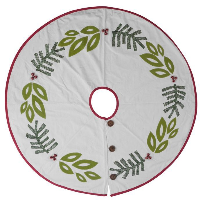 Holiday Tree Skirt with Holly and Jingle Bells Christmas at the