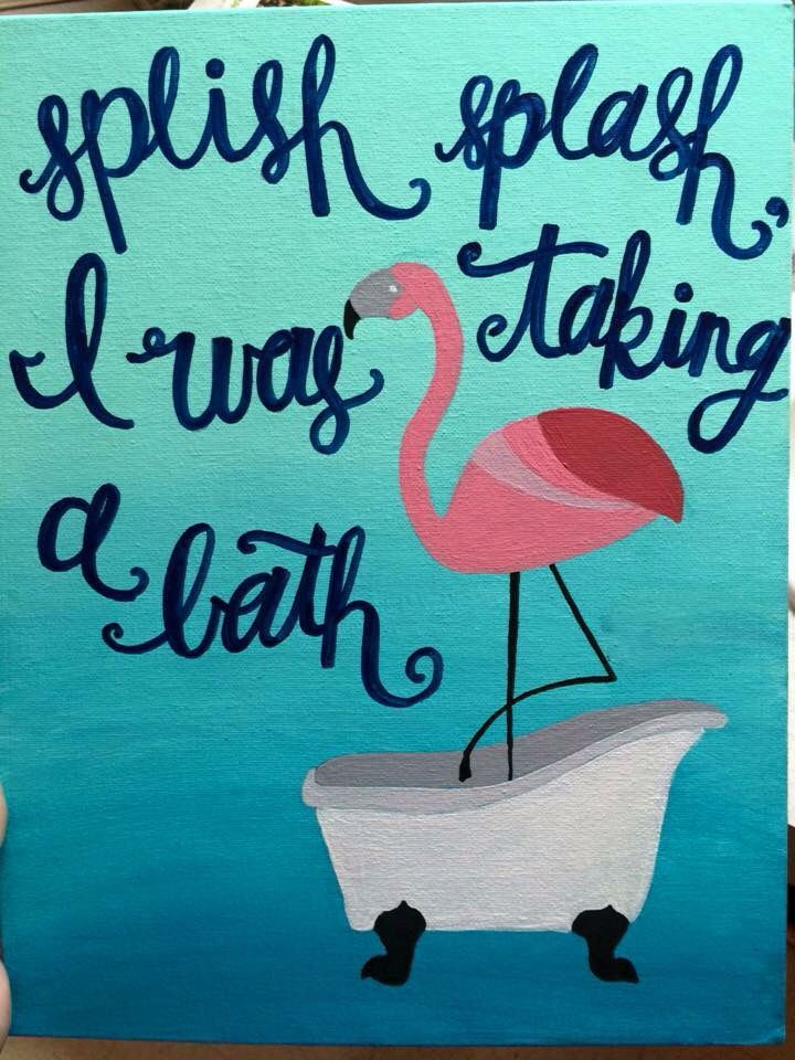flamingo bathroom canvas art bath flamingo decorpink - Pink Flamingo Bath Decor