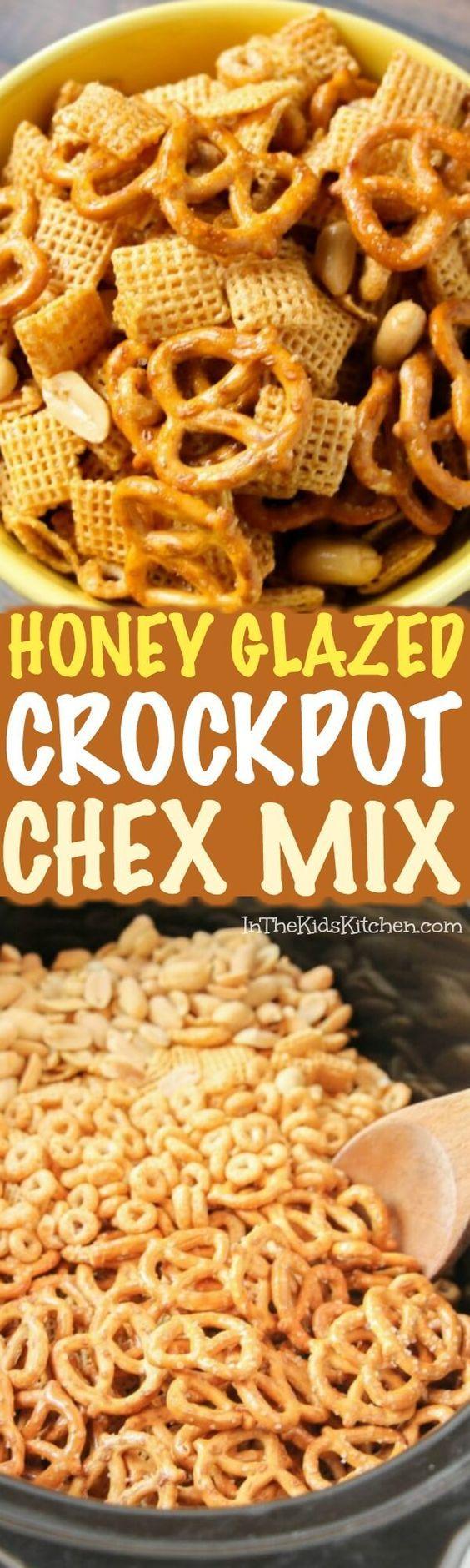 Honey Glazed Crockpot Chex Mix