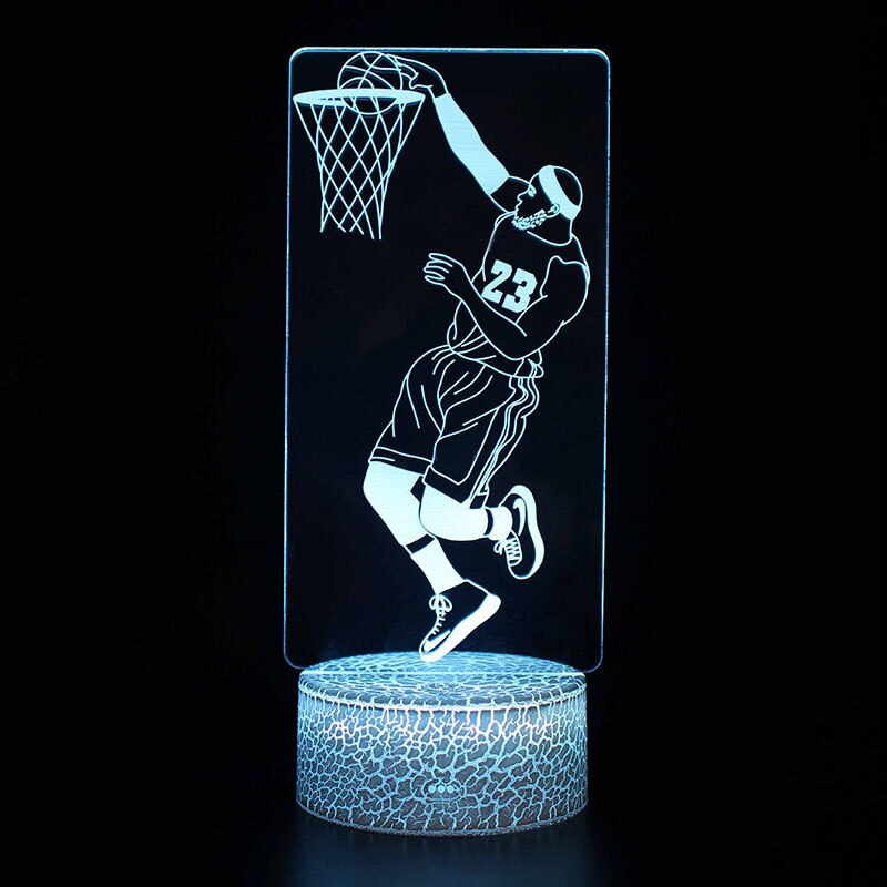 Basketball Theme Night Lights Lebron James Model 3d Illusion Table Lamp Home Bedroom Sports Decor Lights Gift For 3d Illusions 3d Illusion Lamp Led Night Light