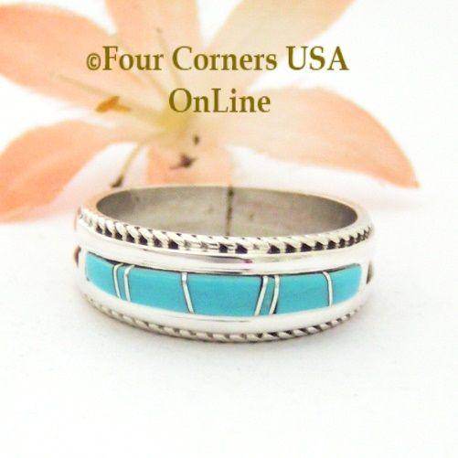 Size 9 1/2 Turquoise Inlay Band Ring Navajo Artisan