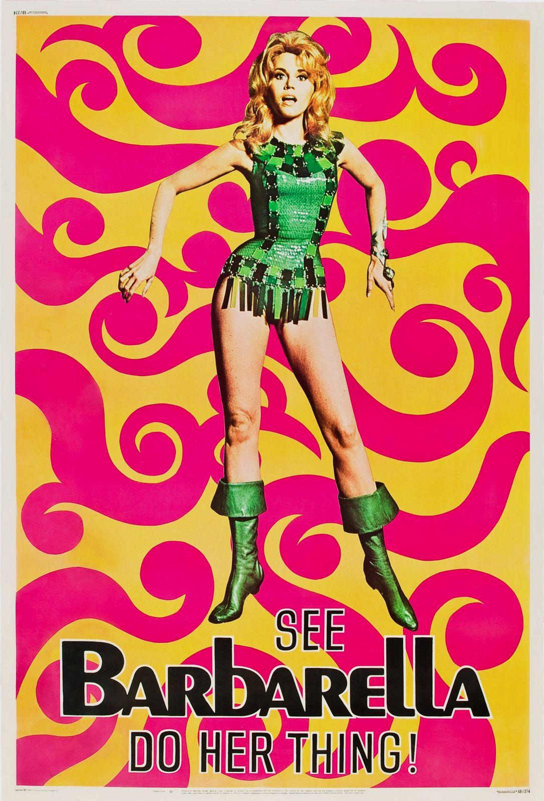 """Cult Retro Jane Fonda /""""Barbarella/"""" Classic Vintage Sci-Fi Poster re-print"""