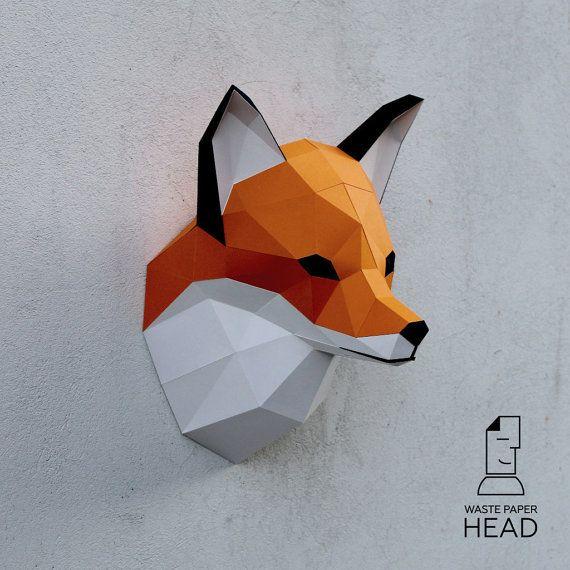 Papercraft fox head - printable digital DIY template | Papercraft ...