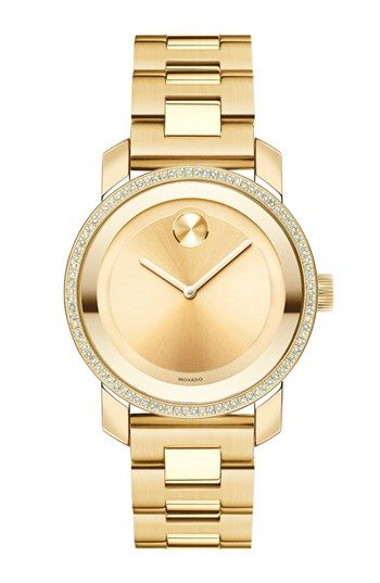 Simple enough and still bold <3 it Movado 'Bold' Diamond Bezel Bracelet Watch, 36mm available at #Nordstrom