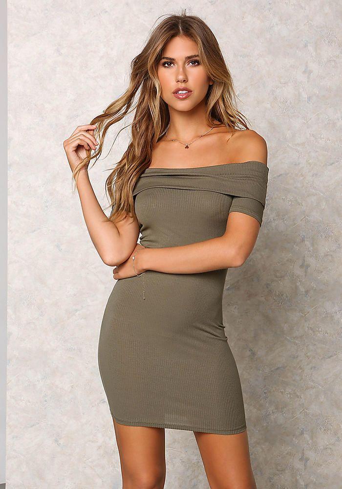 ef1388859826 Olive Ribbed Knit Off Shoulder Bodycon Dress