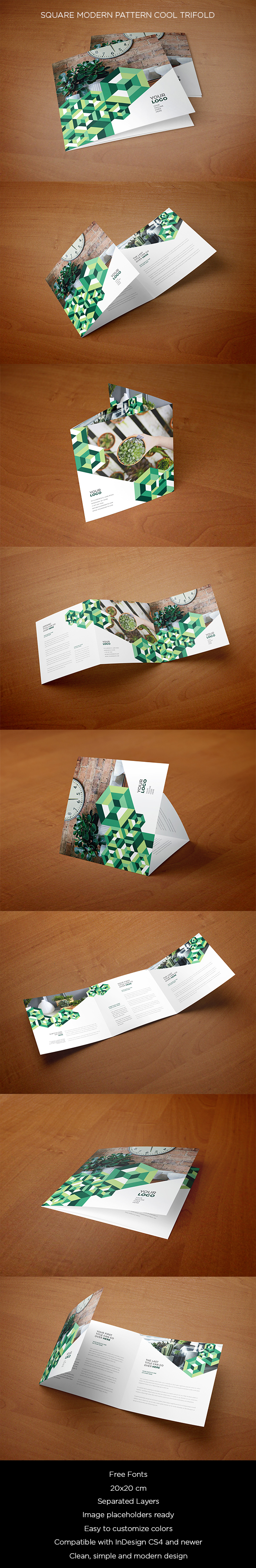 Square Modern Pattern Cool Trifold. Download here: http://goo.gl/FTG4bA