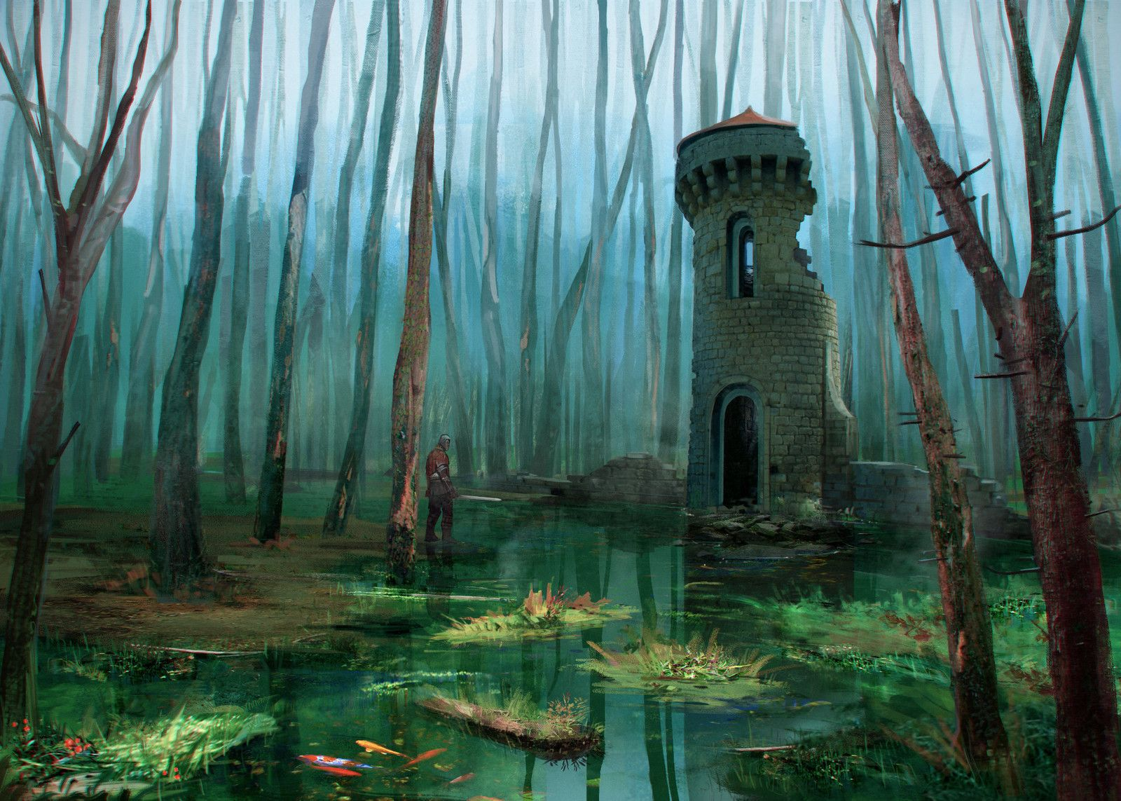 The Tower in the Marsh, Alex Monge on ArtStation at https://www.artstation.com/artwork/1EXlG