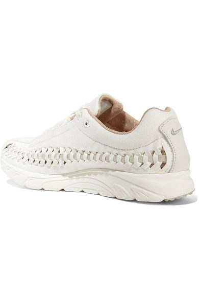 c2c314598e0453 Nike - Mayfly Woven Leather-trimmed Faux Suede Sneakers - Off-white ...