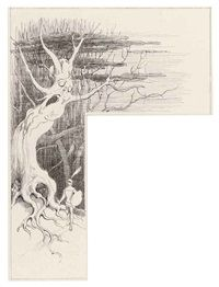 An armed knight by a haunted tree by Richard Doyle