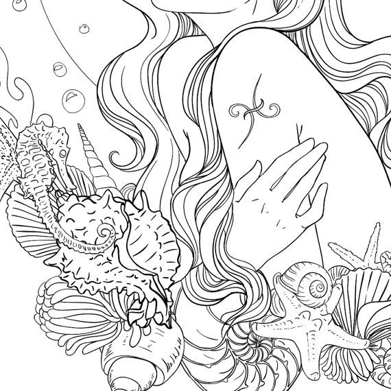 Adult Coloring Page Pisces Line Art Coloring Pages Fairy
