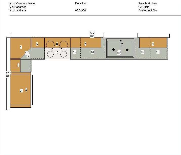 Kitchen Blueprints Floor Plan | Cabinet Planner Screenshots